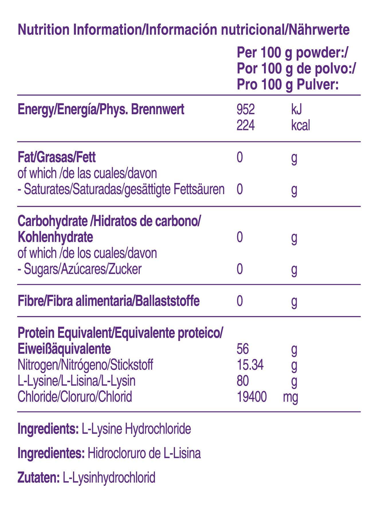 Información de L-Lisina Nutricia