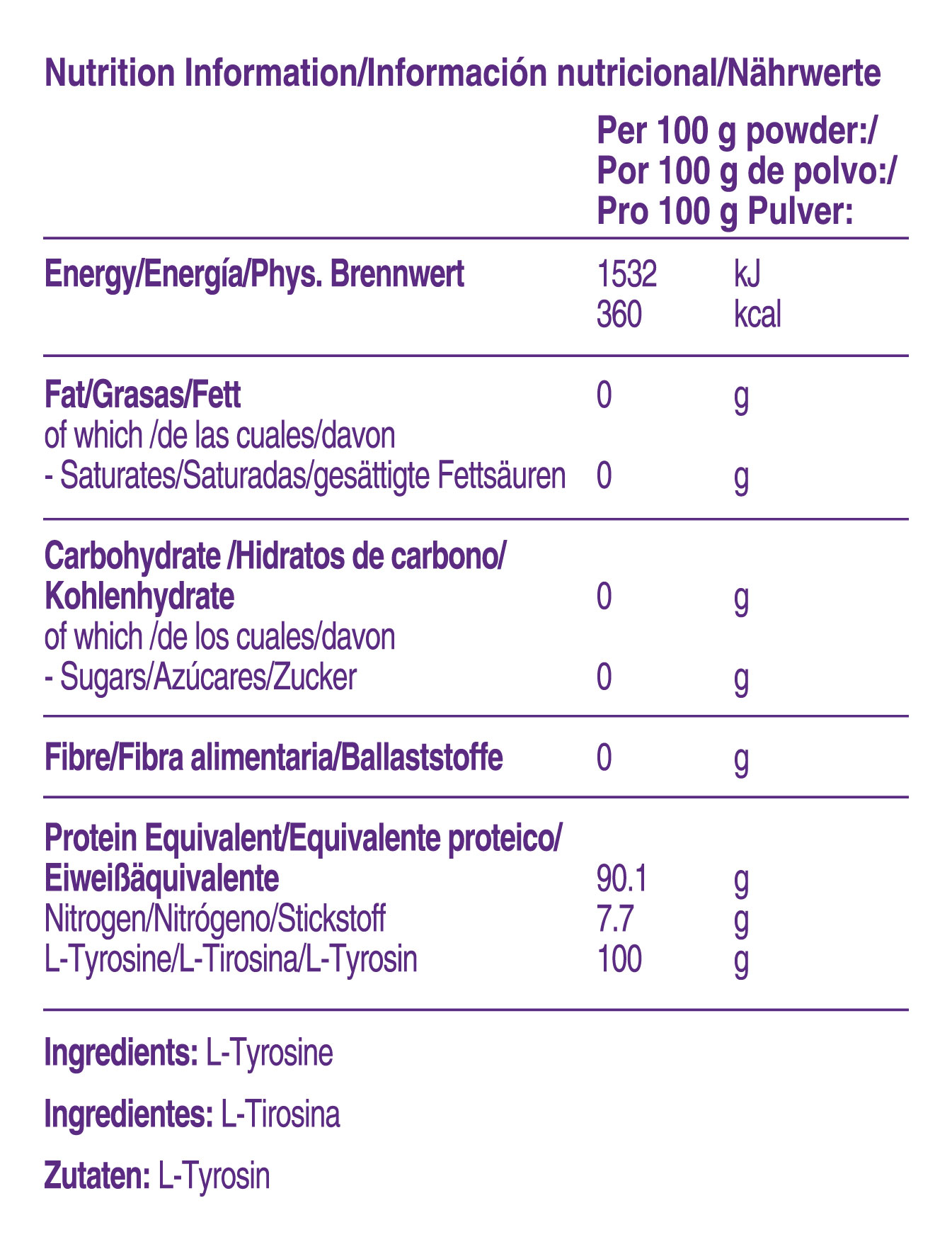 Información de L-Tirosina Nutricia