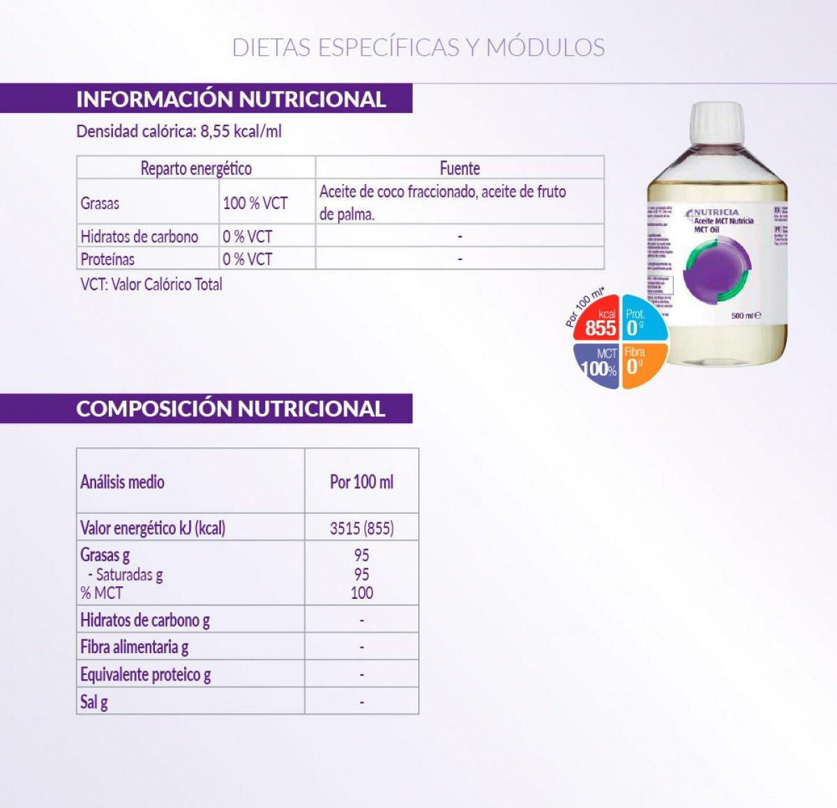 Información de Aceite MCT Nutricia