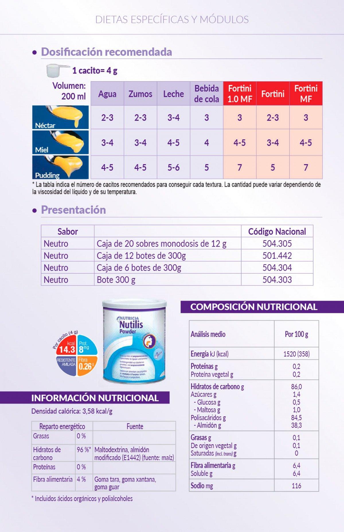Información de Nutilis Powder